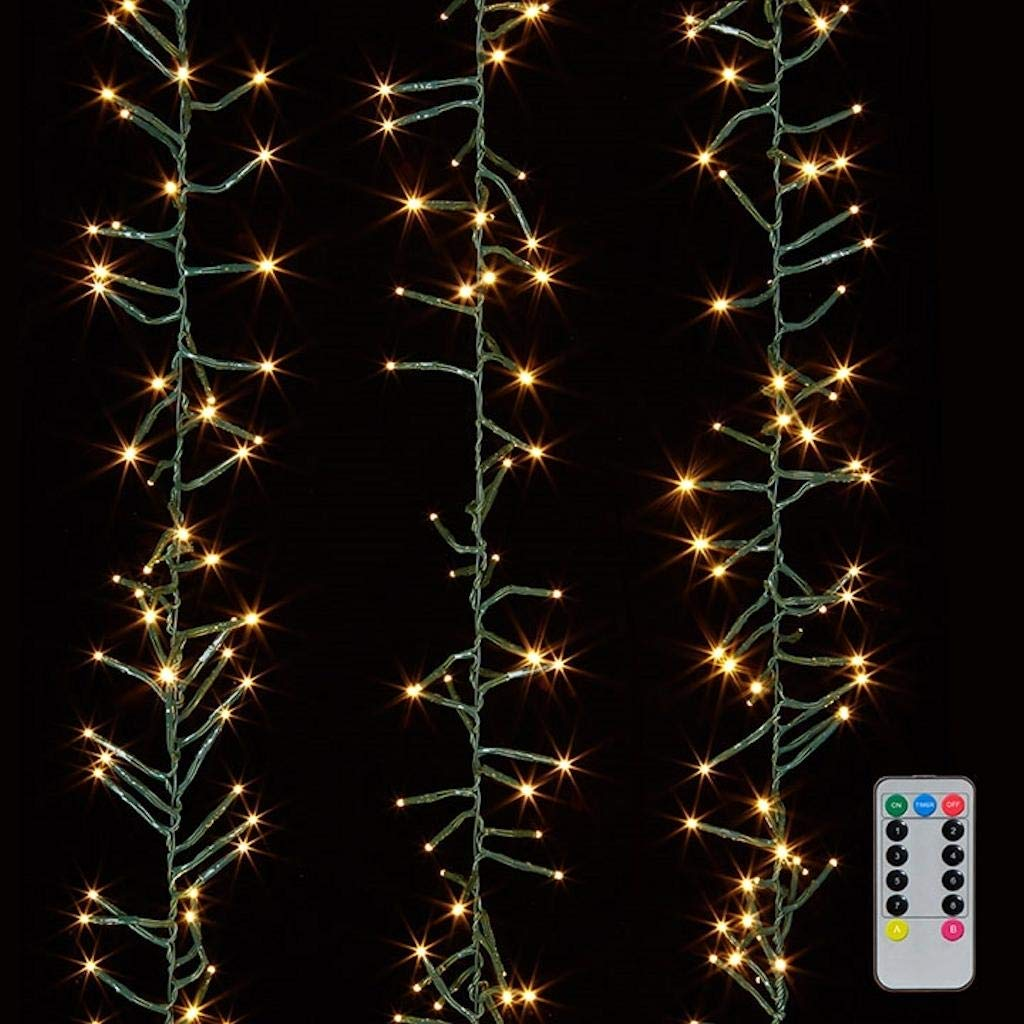 Christmas Cluster Lights 20 Foot Garland with 600 Warm White Lights on Green Wire with Remote Control Raz Exclusive Twinkle Function