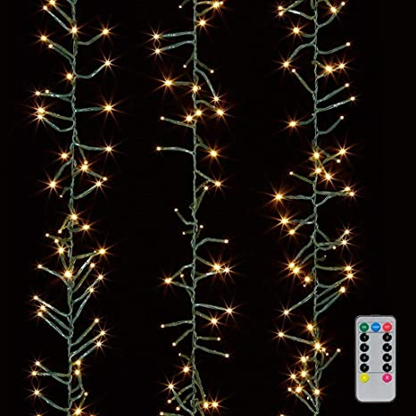 christmas cluster lights 10 foot garland with 300 warm white lights on green wire with remote