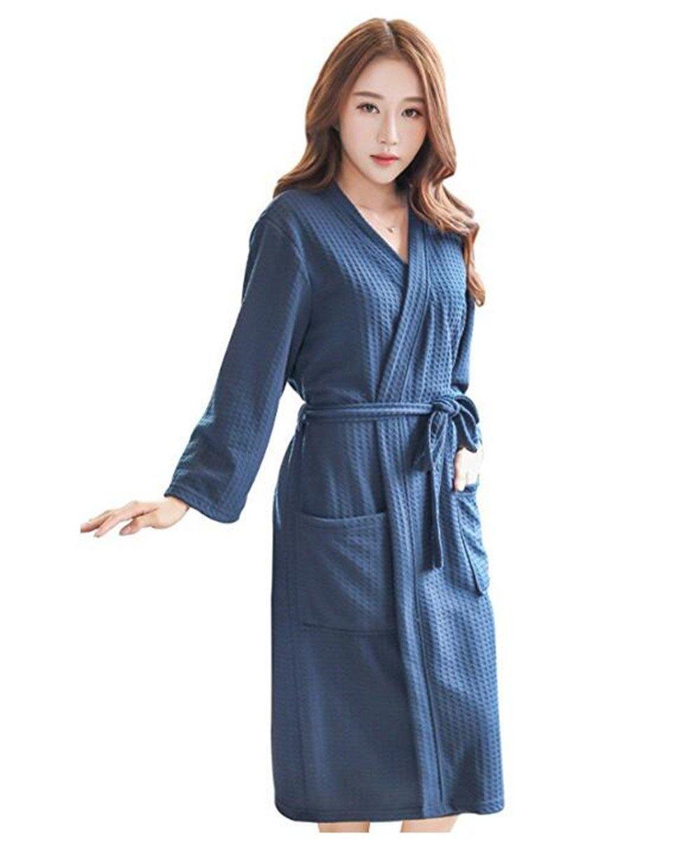 Bhwin Womens Lightweight Robe Kimono 3/4 Long Sleeve Waffle Spa Bathrobe Summer Hotel Spa Robe with Belt (L/XL, Navy Blue)