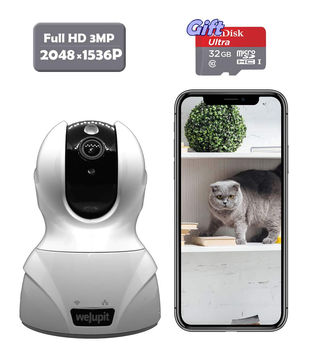 Security Camera 3MP WiFi Baby Pet Home Monitor – weJupit 20481536P Wireless Indoor Pan Tilt Zoom IP Camera, Motion Detection, Two-Way Audio, Night Vision – Cloud Storage Free 32G SD Card