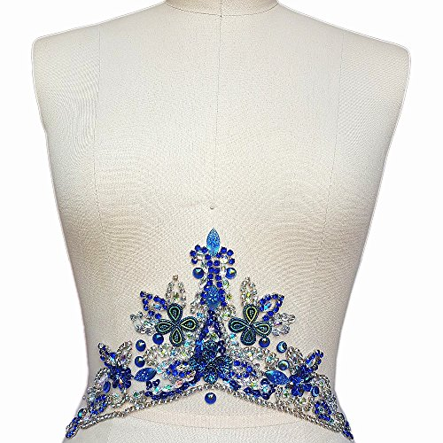 Handmade Crystal Patches Sew on AB Color Rhinestones Applique Designs with Stones Sequins Beads DIY Sewing for Wedding Dress Trim Decor Accessory 14x33cm Belt Waist Decoration (Blue)