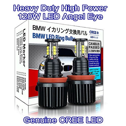 Heavy Duty High Power 120W CREE LED H8 Light Bulb BMW Angel Eyes DRL Marker White 7000K E81 E82 E87 E88 E90 M3 E91 E92 E93 E60 E61 M5 X1 X5 X6 Z4 (pack of 2)
