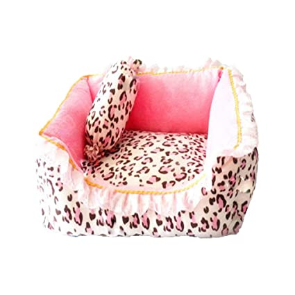 Amazon.com : Dog Bed Princess Dog Cat Bed Pink Leopard Pet House Sleeping Bag with Pillow Puppy Cushion Kennel : Pet Supplies