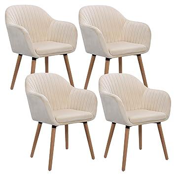 Woltu 4er Set Esszimmerstuhle Kuchenstuhl Wohnzimmerstuhl Polsterstuhl Design Stuhl Mit Armlehne Samt Massivholz Cremeweiss Bh95cm 4