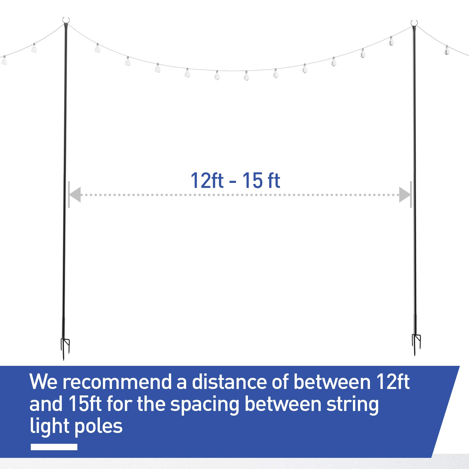 Outdoor String Lights Pole – Light Up Patio or Garden with LED Or Solar  Hanging Bulbs - Long Fork 8'' to Dig Deep and Stand Tall - Waterproof Steel