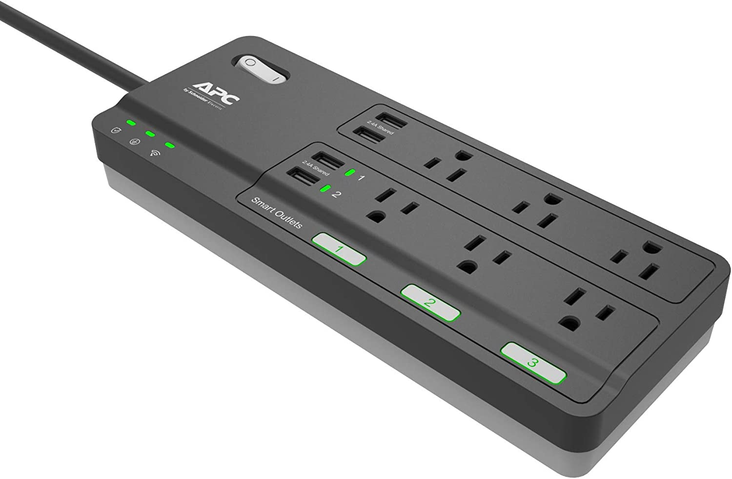 APC Smart Plug Wi-Fi Power Strip with USB Ports, PH6U4X32, 3 Smart Plugs that Work with Alexa, 6 Outlets Total, 2160 Joule Surge Protector Black