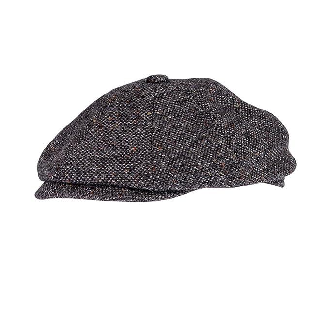0b5368cb9c92d Men's Gray Wool Blend Baker Boy Hat With Fleck newsboy Cap Warm ...