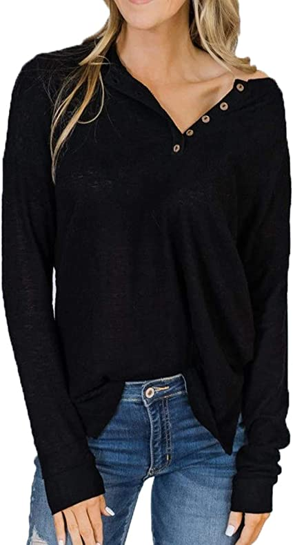 US STOCK Women/'s Long Sleeve Shirt Button Down Loose Blouse V-neck Tops T-shirts