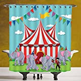 Fun Shower Curtain 3.0 [Circus Decor,Elephant Show at the Circus Illustration Flags Performance Fun Park Joy,] Bathroom Accessories with Hooks
