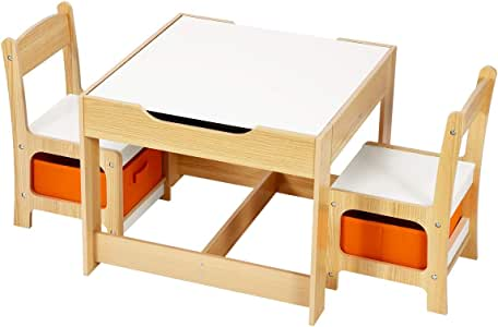 Kidbot 3-Piece Kids Table and Chair Set Multifunctional Activity Play Toys Storage Bins
