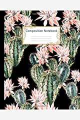 Composition Notebook: Wide Ruled Lined Paper Notebook Journal: Pretty Watercolor Cactus Workbook for Girls Kids Teens Students for Back to School and Home College Writing Notes Paperback