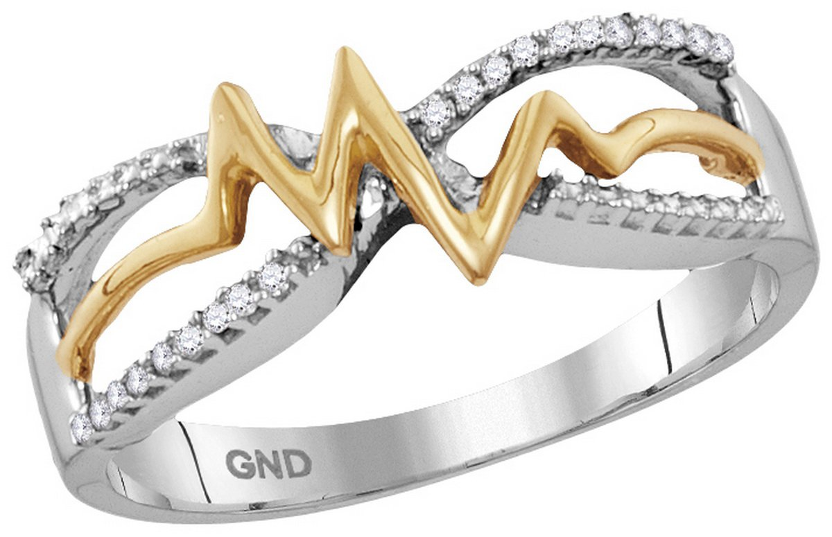 Size 6.5 - 925 Sterling Silver Round Diamond Yellow-tone Heartbeat Band Ring 1/20 Cttw
