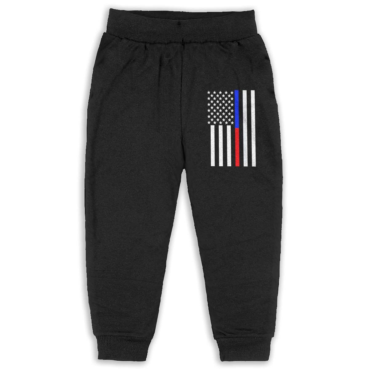 Never-Cold Thin Blue and Red American Flag Kids Boys Sweatpants Elastic Waist Pants for 2T-6T