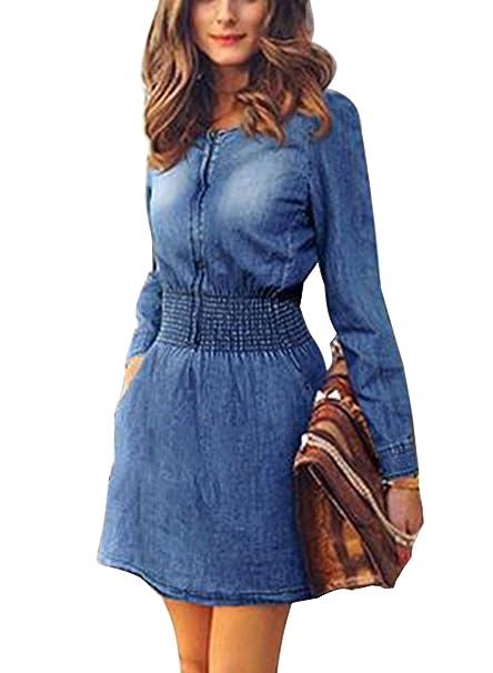 9ba7807c5e56 Minetom Moda Abito Di Jeans Corto Gonna Maniche Lunghe Casuale Vestito dal  Denim  Amazon.it  Abbigliamento