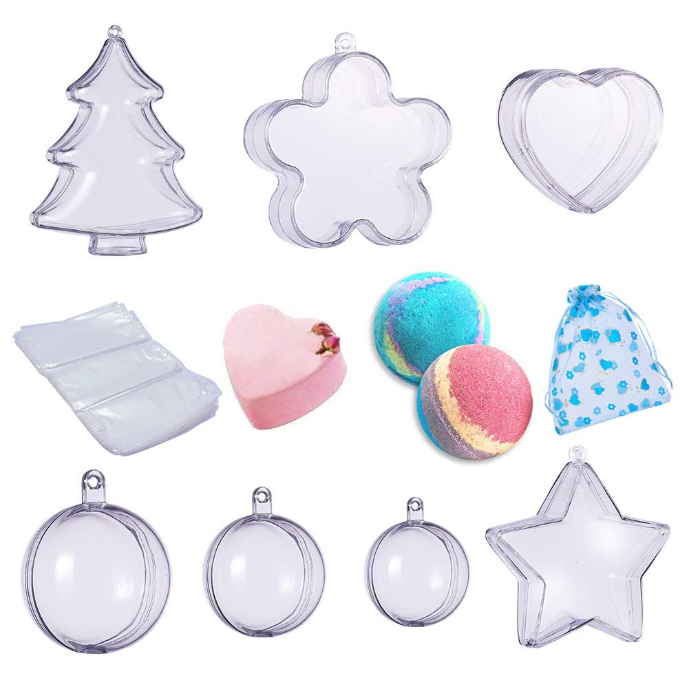 BENECREAT 7 Sets Bath Bomb Molds, DIY Bath Bomb Clear Plastic Christmas Ball Ornaments for Party Decorations with Organza Bags and Heat Shrinkage Bags