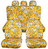 Hawaiian Print Car Seat Covers w 5 (2 Front + 3 Rear) Headrest Covers: Yellow w Flowers - Universal Fit - Full Set - Buckets & Bench - Option for Airbag/Seat Belt/Armrest/Lever/Split Compatible