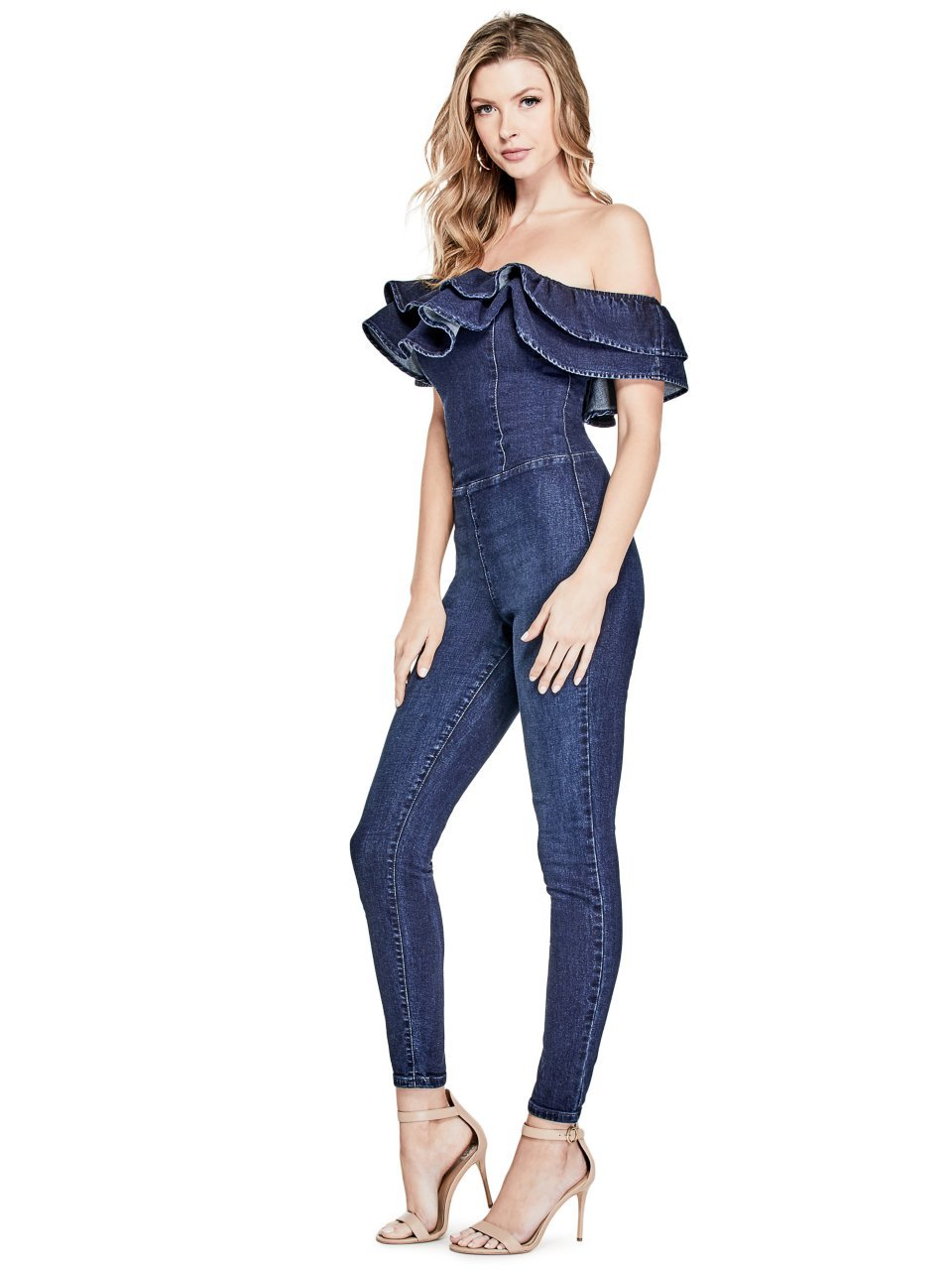 GUESS Women's Ruffle Jumpsuit, Dark Wash, L