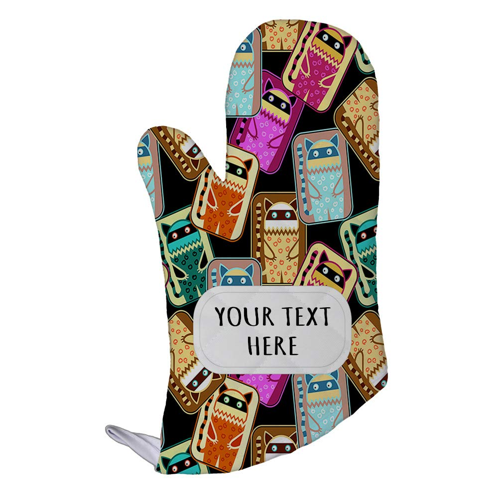 Polyester Oven Mitt Custom Colorful Tribal Cats Seemless Pattern Adults Kitchen Mittens