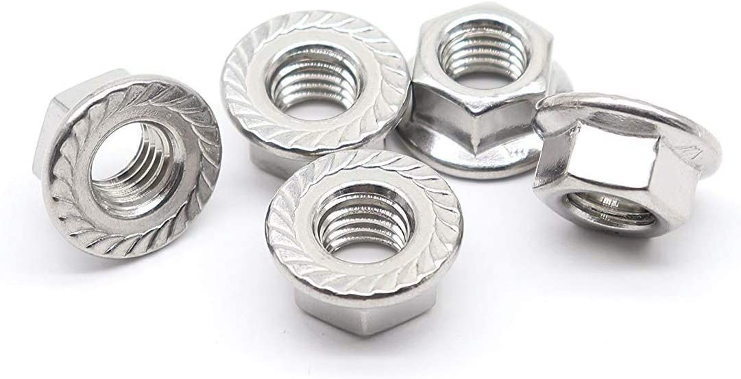 304 Stainless Steel M12 Quantity 5 Bright Finish M12 Serrated Flange Hex Lock Nuts
