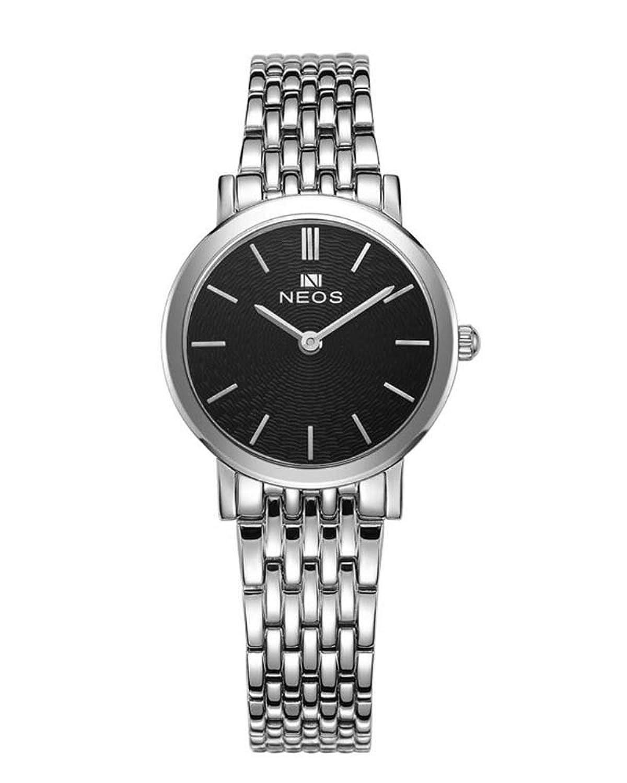 Paar Uhren Ultra Slim Morie Zifferblatt Edelstahl Band Quarz Wasserdicht Armbanduhr fÜr Ihre HIS schwarz schwarz