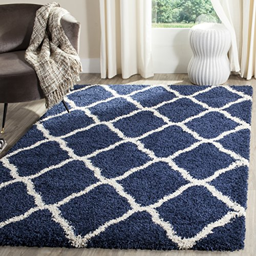 Safavieh Hudson Shag Collection SGH283C Navy and Ivory Moroccan Geometric Area Rug (3' x 5')