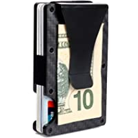 Minimalist Aluminum Wallet, Slim Money Clip Metal Wallet RFID Front Pocket Wallet (Carbon Fiber)