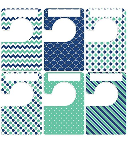 Doodle Garment (Closet Doodles 6 clothing dividers nautical navy green any size adult or baby Plus 48 Sorting Labels)