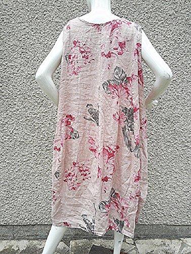 Fashionfolie - Femme Robe 44 46 48 50 grande taille LIN 100% Femme vêtement longue mariage soirée ROSE