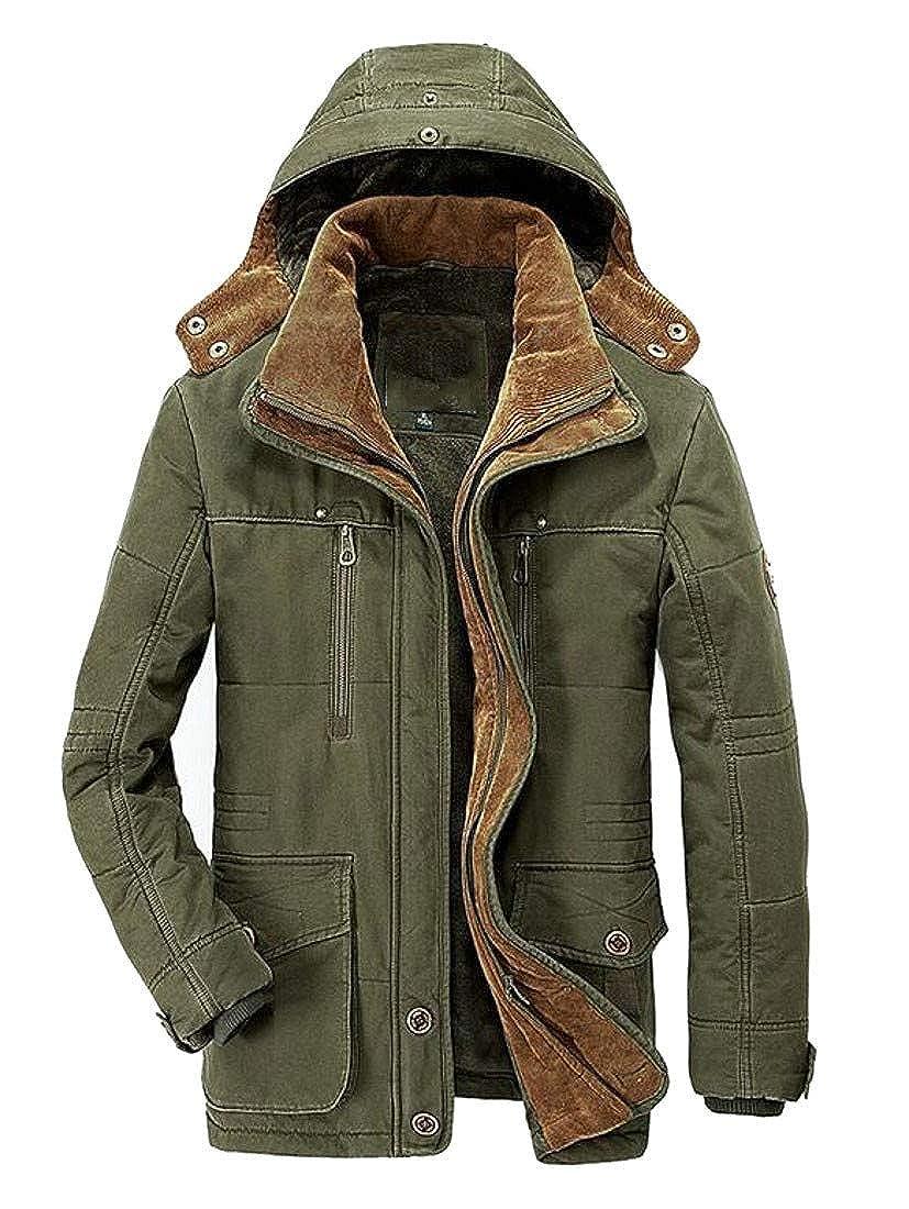 Hajotrawa Mens Trendy Hooded Windbreaker Wool Lined Fleece Parka Jacket Coat