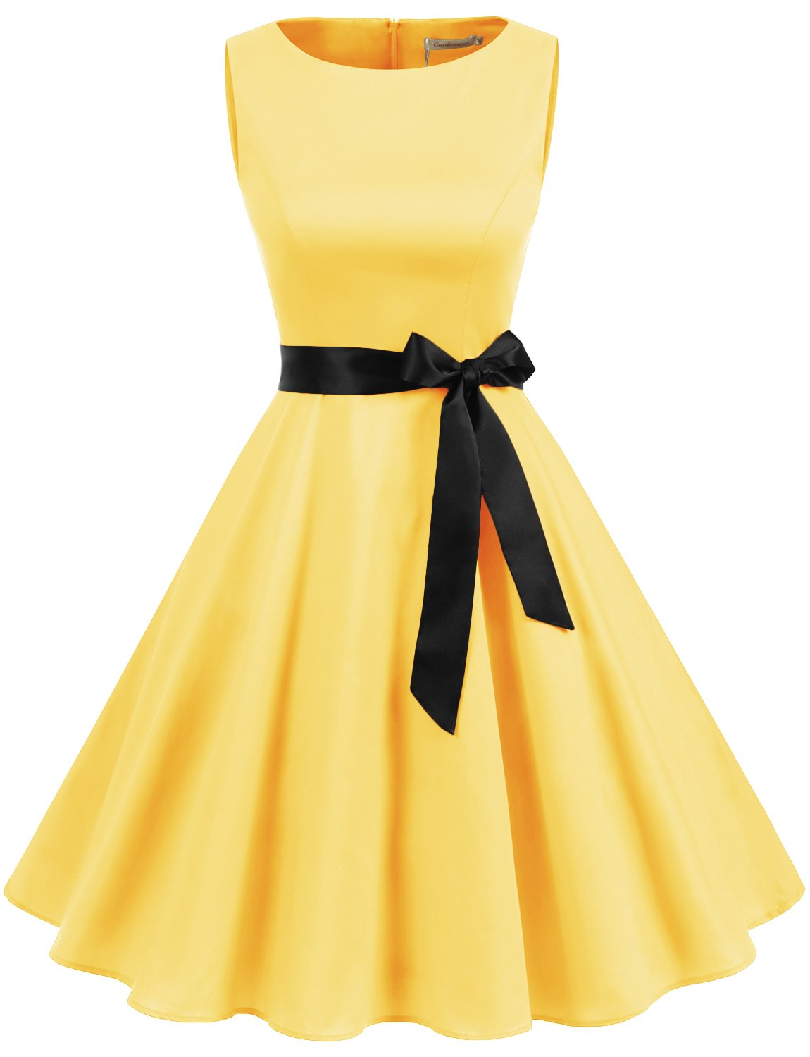 Gardenwed Women's Vintage 1950s Retro Rockabilly Swing Cocktail Dresses with Belt Yellow XL