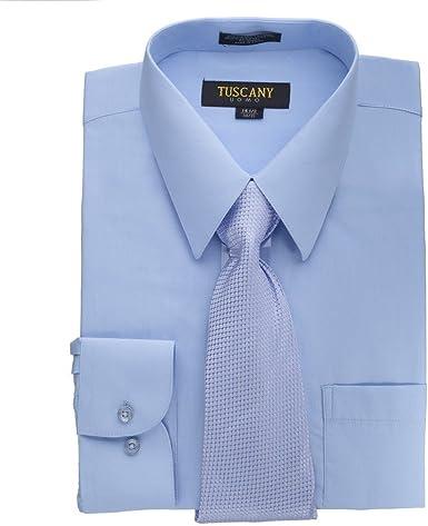 Camisa de vestir para hombre con corbata de misterio, color azul claro, cuello de 16.5 pulgadas, manga de 34 a 35 pulgadas: Amazon.es: Ropa y accesorios