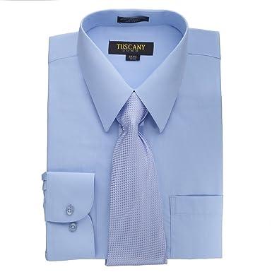 Tuscany - Camisa de vestir de manga larga para hombre, color azul ...