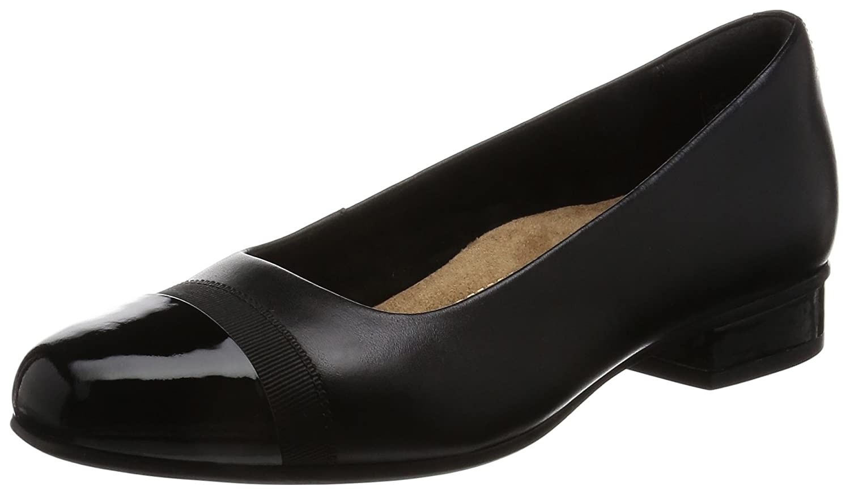 Clarks Keesha Rosa Smart Casual scarpe da donna in cuoio nero o melanzana pelleNero