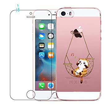 Funda iPhone 5, iPhone 5S Cover, iPhone SE Caso de Gel de Silicona Transparente para TPU Custodia [con Protector de Pantalla de Vidrio Templado] para ...