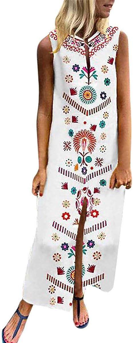 Vestidos Largos Verano Mujer Talla Grande Lanskirt Vestido de Casual Playa de Algodón Sin Mangas de Impresión para Mujeres S-XXL: Amazon.es: Ropa y accesorios