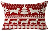 Bohemian Style Beige Christmas Tree Dachshund Snowflake Merry Everything In Red Merry Christmas Cotton Linen Throw Lumbar Waist Pillow Case Cushion Cover Home Office Decorative Rectangle 12X20 Inches