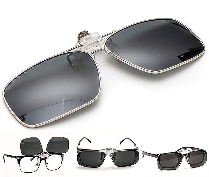 ElementsActive Gafas de sol polarizadas de borde metálico con función de volteo para hombre Grande Negro