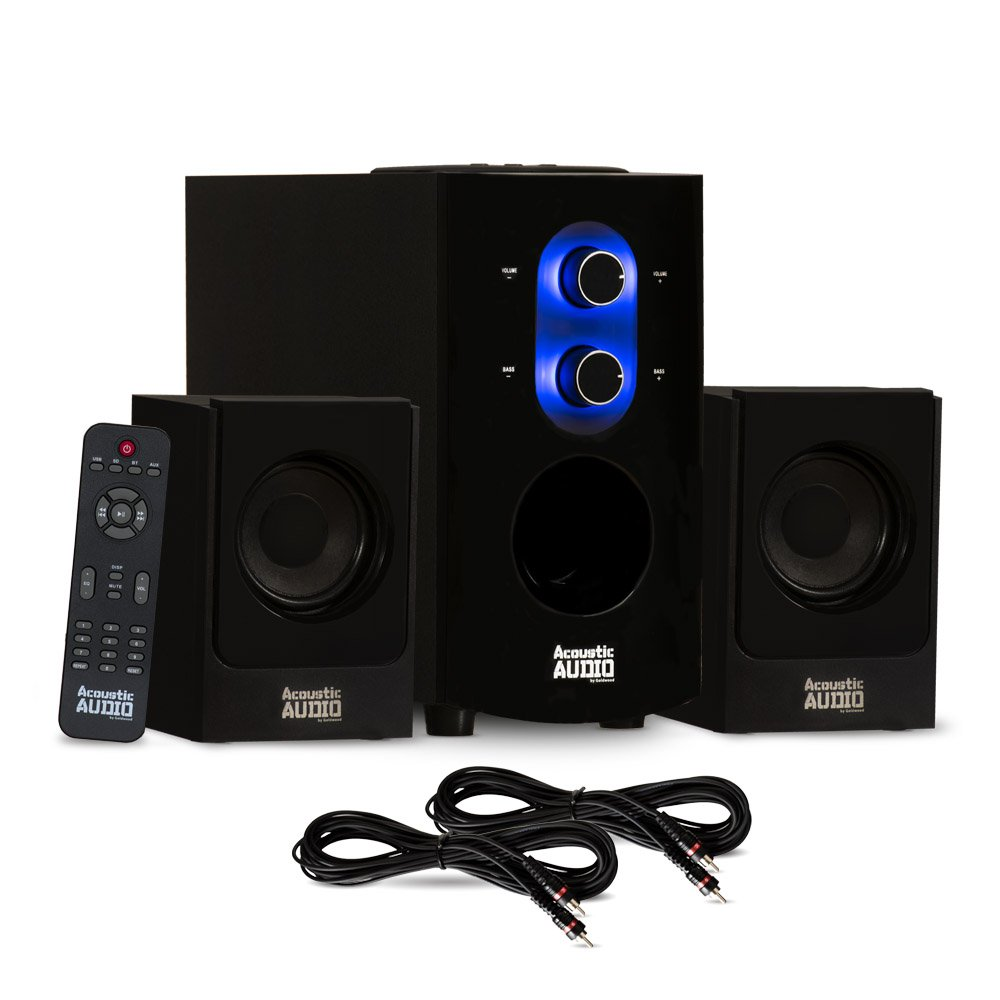 Acoustic Audio AA2130 Bluetooth Home 2.1 Speaker System for Multimedia and 2 Extension Cables