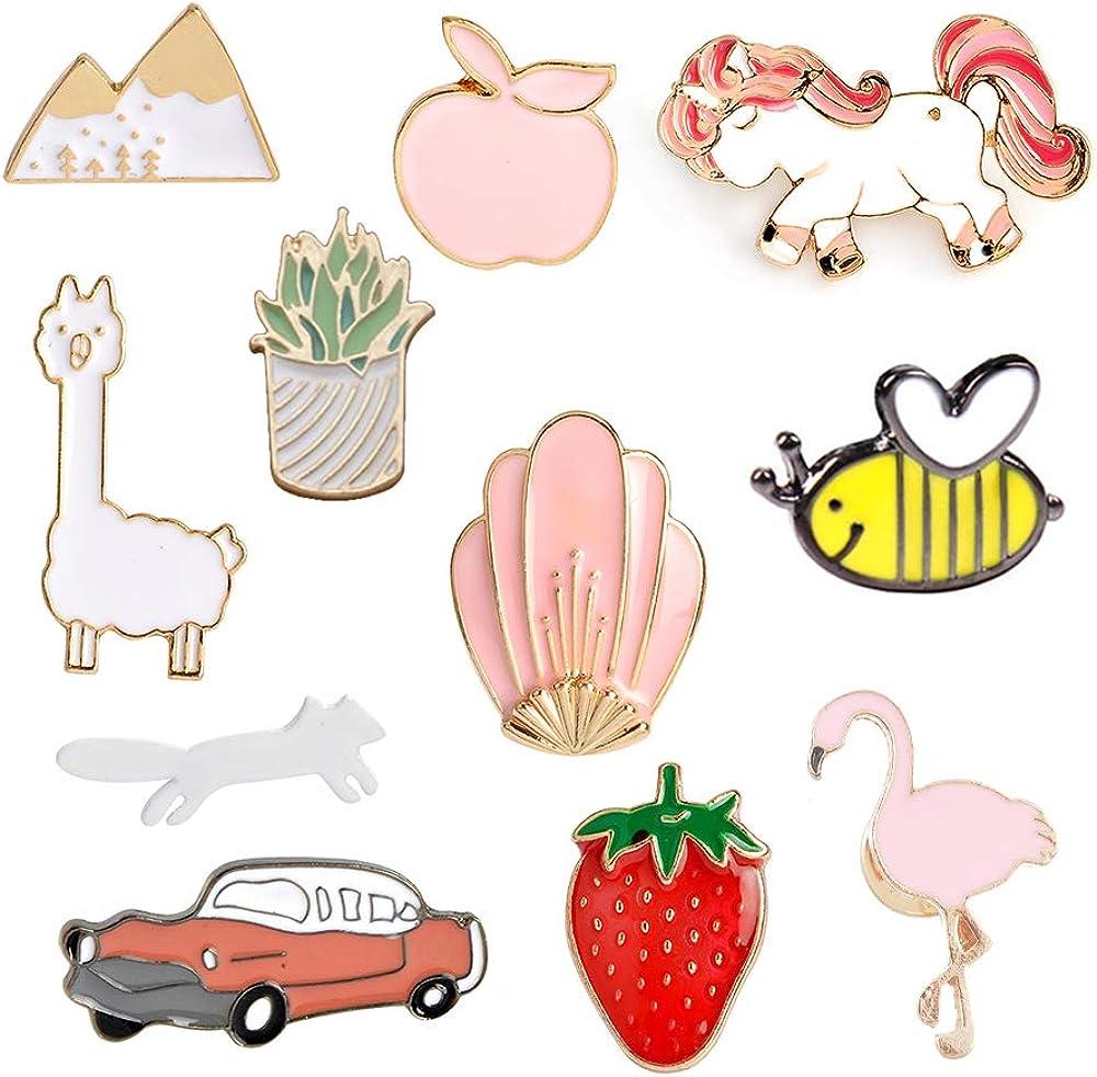 MJartoria Cute Enamel Pins-Car Flamingo Alpaca Novelty Cartoon Cute Enamel Brooch Pins for Backpacks Set Badges Clothing Bags Jackets