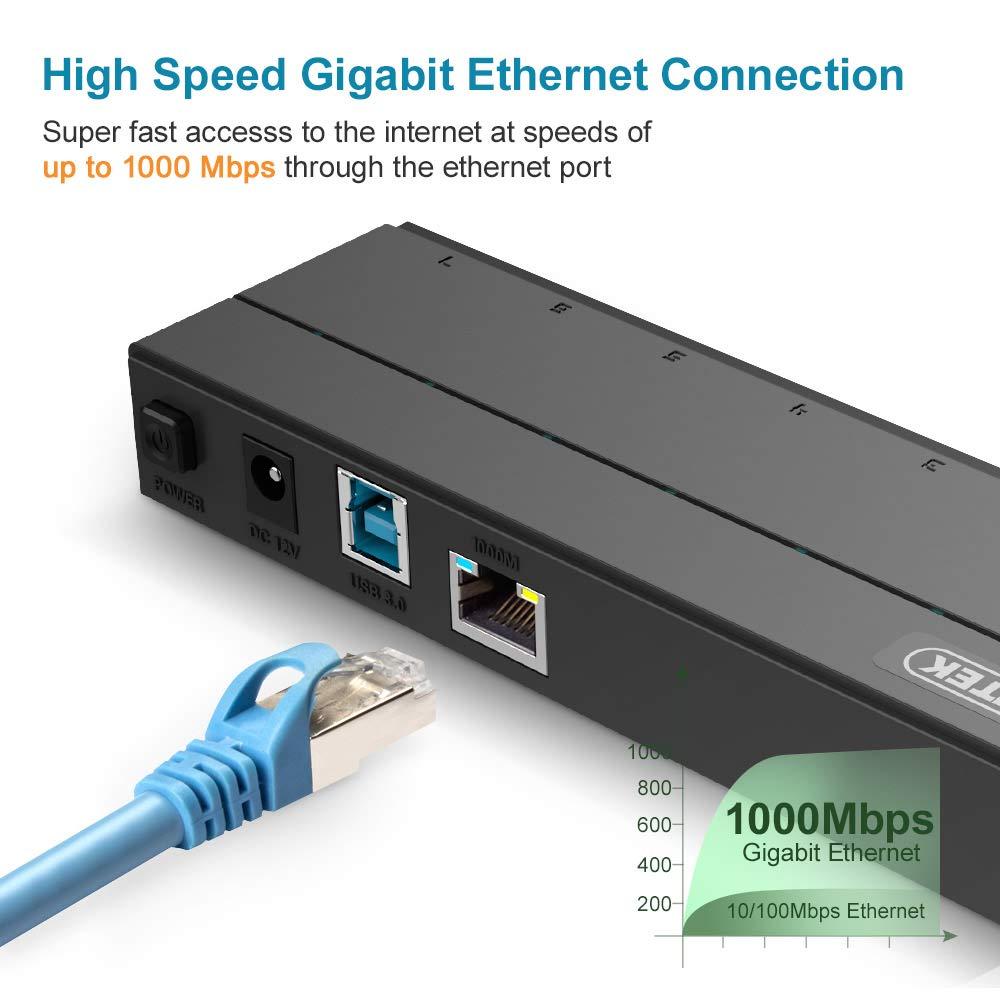 7 Port Usb Hub Ethernet Adapter Unitek 30 6 Rj5 Wiring Diagram 1 Charging Gbps 36w Powered Data