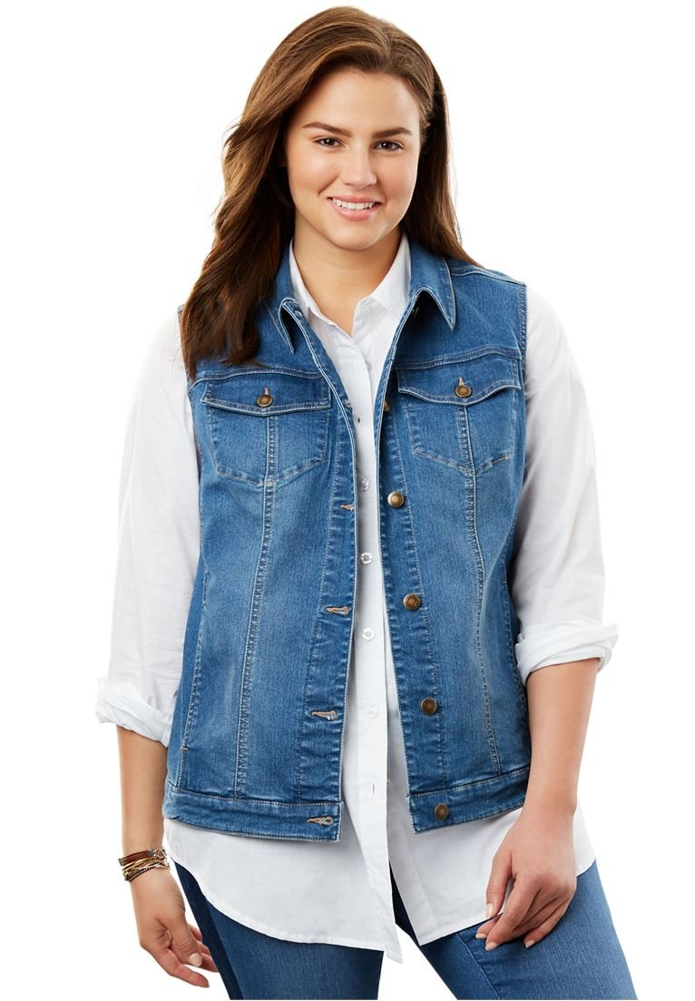 Woman Within Women's Plus Size Stretch Jean Vest