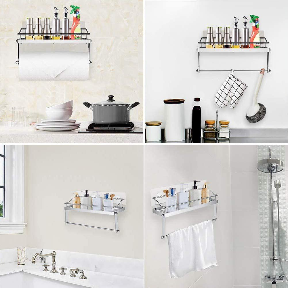 Warmiehony Kitchen Bath Roll Holder, Tissue Paper Towel Holder with Shelf, Wall Mounted Aluminum Rack, Glue Self Adhesive or Screw Mounted, Polished Finished Stainless Steel