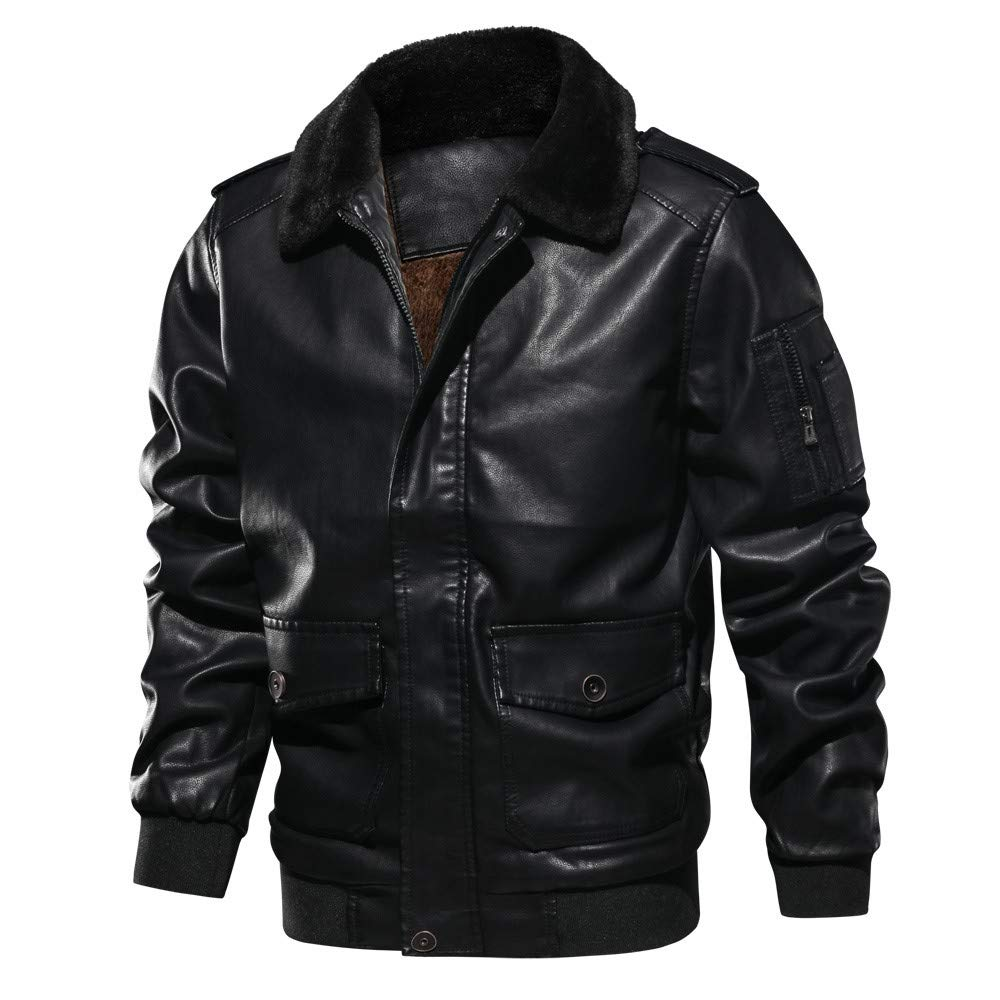 Mens Jacket Godathe Clearance Men's Lapel Fur Collar Leather Pocket Flying Jacket Tactical Outwear Coat S-2XL