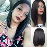 Eayon Hair 7A Short Bob Human Hair Lace Front Wig Brazilian Virgin Glueless Silk Straight Hair Wigs with Baby Hair for Black Women Natural Color 12inch 130% Density