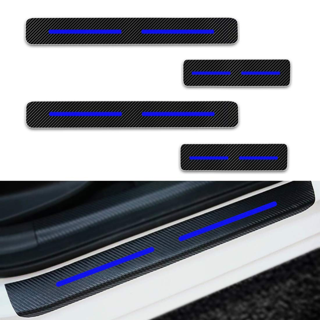 For ford raptor f150 f250 f350 f450 ka escape door sill protector reflective 4d carbon fiber sticker door entry guard door sill scuff plate stickers auto