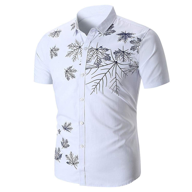 Orangeskycn Men'S T-Shirt Short Sleeve Printed Slim Fit Button Down Fashion Casual Shirts