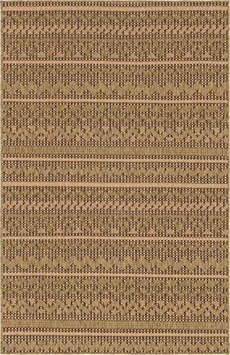 Unique Loom Outdoor Modern Collection Geometric Striped Abstract Transitional Indoor and Outdoor Flatweave Light Brown Area Rug 5 0 x 8 0