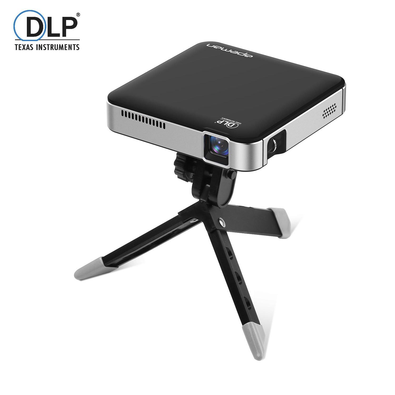 APEMAN DLP プロジェクター LED小型ミニ ポケット ホームシアター フル HD 1080p入力対応 3400mAh バッテリー内蔵 2時間の投影時間 モバイルバッテリー HDMI MHL対応 三脚付き B01M16OQ9I