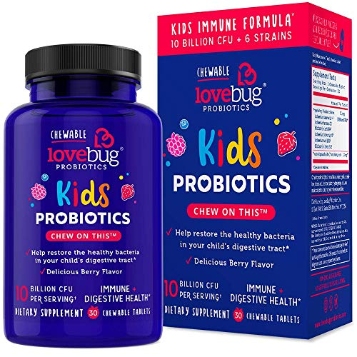 LoveBug Probiotics Kids Probiotic Chewable – Immune Support + Digestive Probiotic Supplement for Kids, with Prebiotic – 30 Naturally Flavored Berry Chewable Tablets – Vegan, Non-GMO (30)