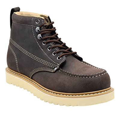Golden Fox Men's Premium Leather Soft Toe Light Weight Industrial Construction Moc Work Boots Insulated: Shoes